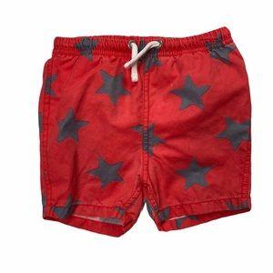 Baby Boden Red Star Swim Trunks 6-12M